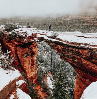 Winter Snow at Devil's Bridge in Sedona, AZ