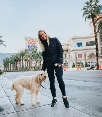 Kay and her dog, Liberty, on the strip